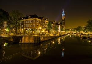 Westerkerk View on Prinsengracht Canal